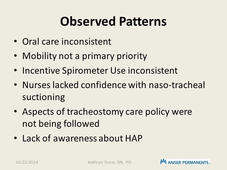 Observed Patterns Oral care inconsistent Mobility not a primary priority Incentive Spirometer Use inconsistent Nurses lacked confidence with naso-tracheal suctioning Aspects of tracheostomy care policy were not being followed Lack of awareness about HAP 10/22/2014Kathryn Snow, RN, MS