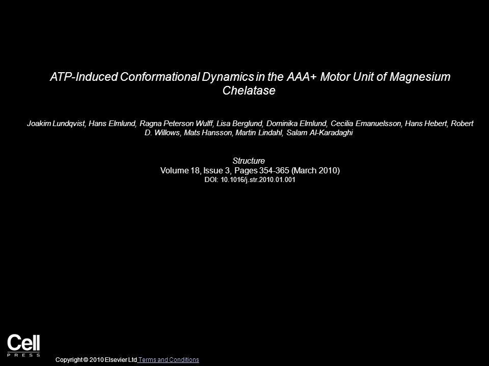 ATP-Induced Conformational Dynamics in the AAA+ Motor Unit of Magnesium Chelatase Joakim Lundqvist, Hans Elmlund, Ragna Peterson Wulff, Lisa Berglund, Dominika Elmlund, Cecilia Emanuelsson, Hans Hebert, Robert D.