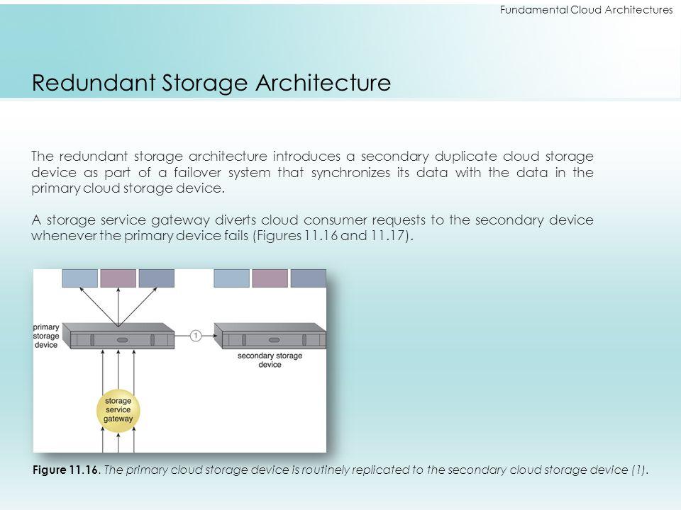 Fundamental Cloud Architectures Redundant Storage Architecture The redundant storage architecture introduces a secondary duplicate cloud storage devic
