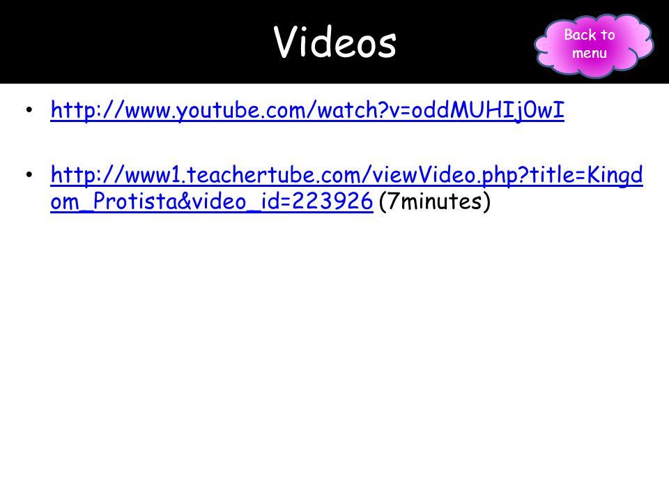 Videos http://www.youtube.com/watch?v=oddMUHIj0wI http://www1.teachertube.com/viewVideo.php?title=Kingd om_Protista&video_id=223926 (7minutes) http://