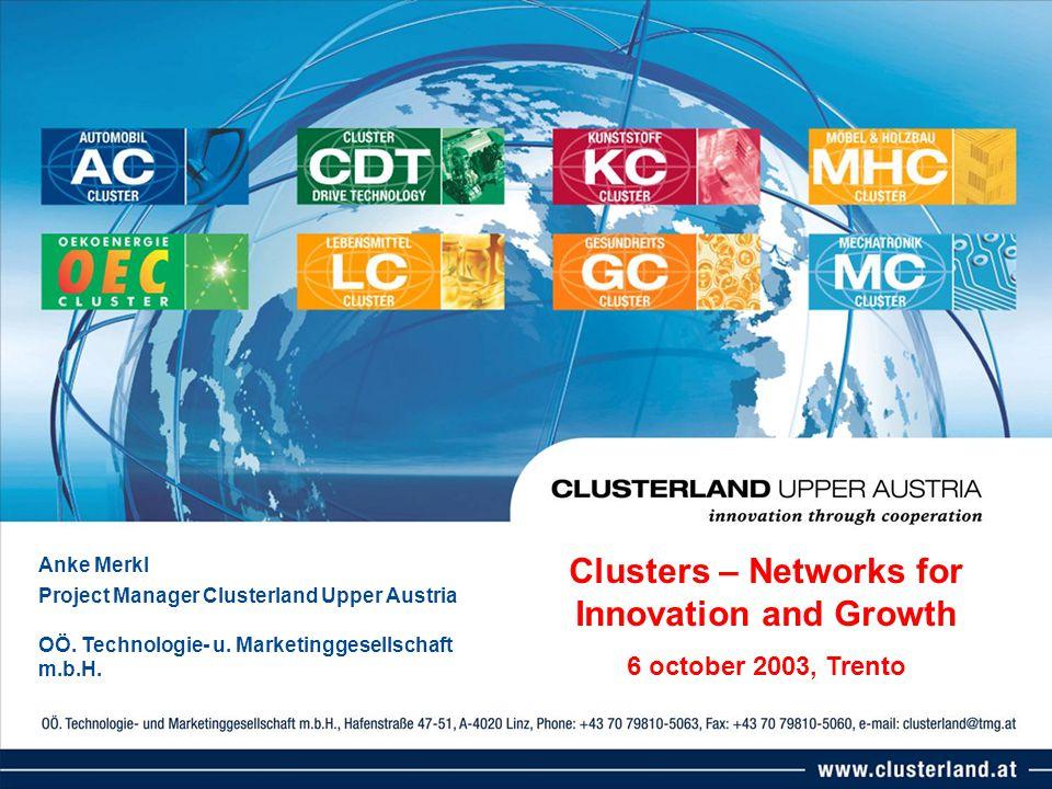 Anke Merkl Project Manager Clusterland Upper Austria OÖ. Technologie- u. Marketinggesellschaft m.b.H. Clusters – Networks for Innovation and Growth 6