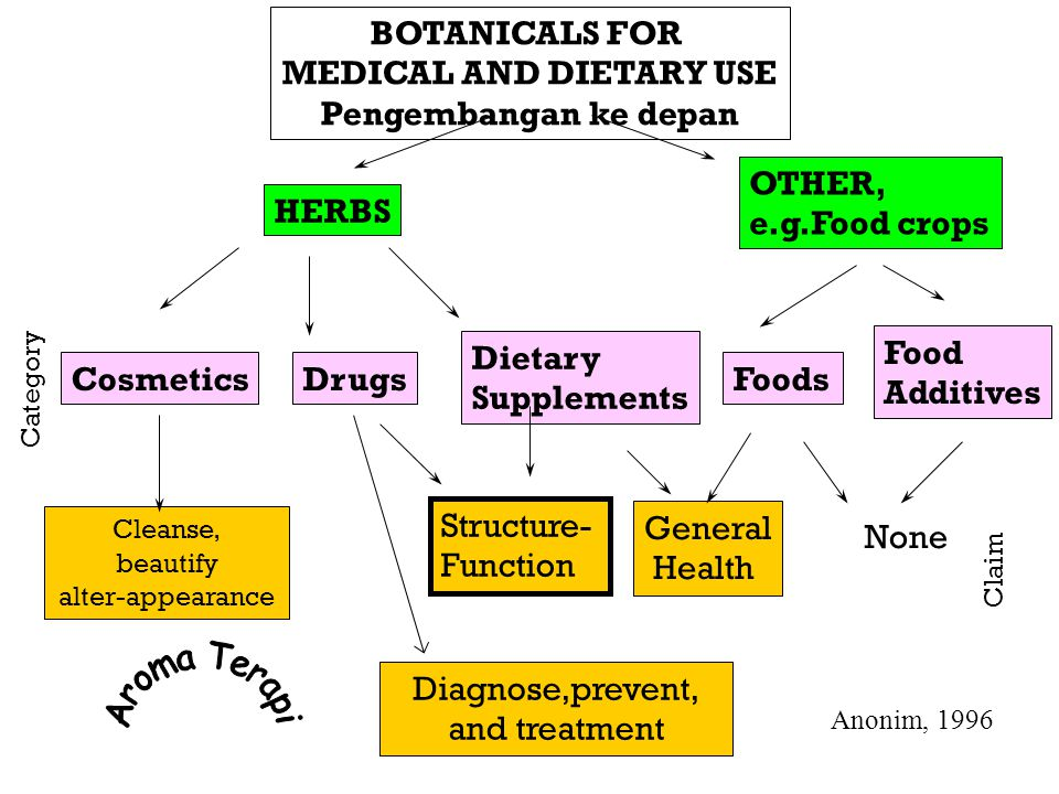 BOTANICALS FOR MEDICAL AND DIETARY USE Pengembangan ke depan HERBS OTHER, e.g.Food crops CosmeticsDrugs Dietary Supplements Foods Food Additives Category Cleanse, beautify alter-appearance Diagnose,prevent, and treatment Structure- Function General Health None Claim Anonim, 1996