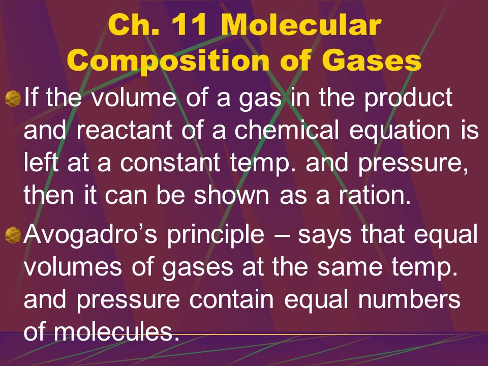 V = kn Volume = constant x number of moles The volume of a gas is directly proportional to the number of moles of a gas.