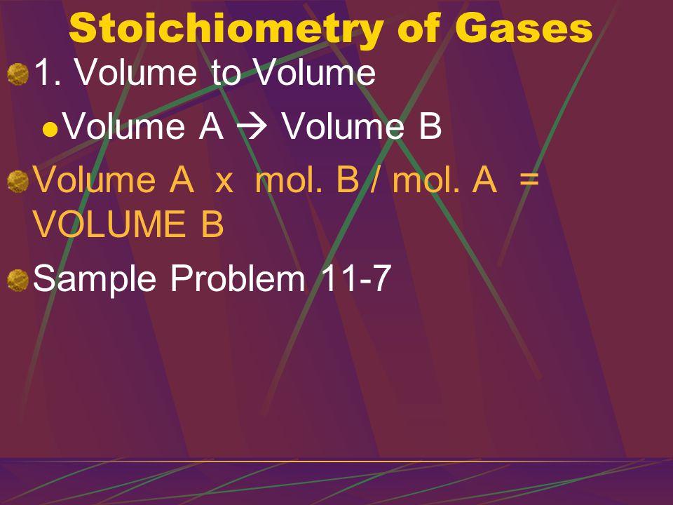 2.Volume to Mass Volume A  Mol. A  Mol.