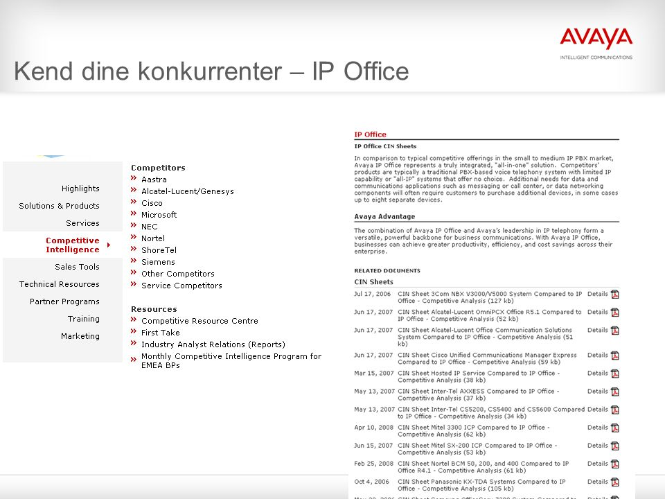 © 2009 Avaya Inc. All rights reserved.9 Kend dine konkurrenter – IP Office