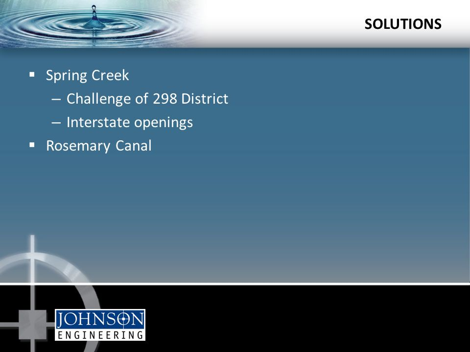  Spring Creek – Challenge of 298 District – Interstate openings  Rosemary Canal SOLUTIONS