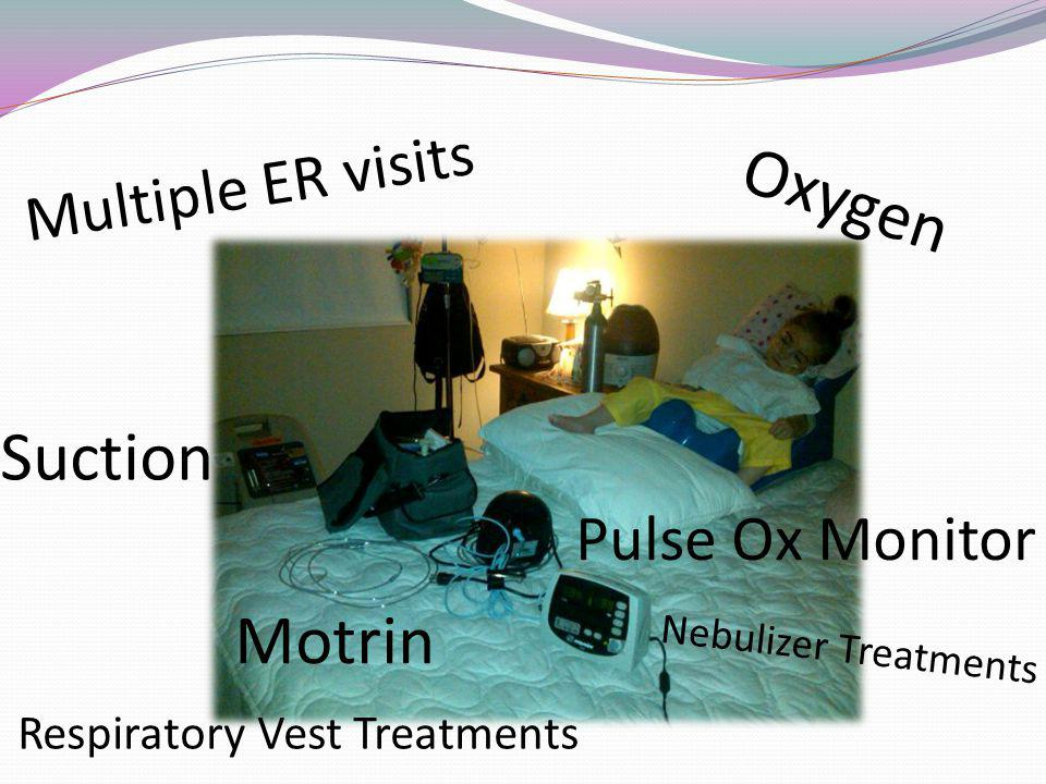 Multiple ER visits Oxygen Respiratory Vest Treatments Pulse Ox Monitor Suction Nebulizer Treatments Motrin