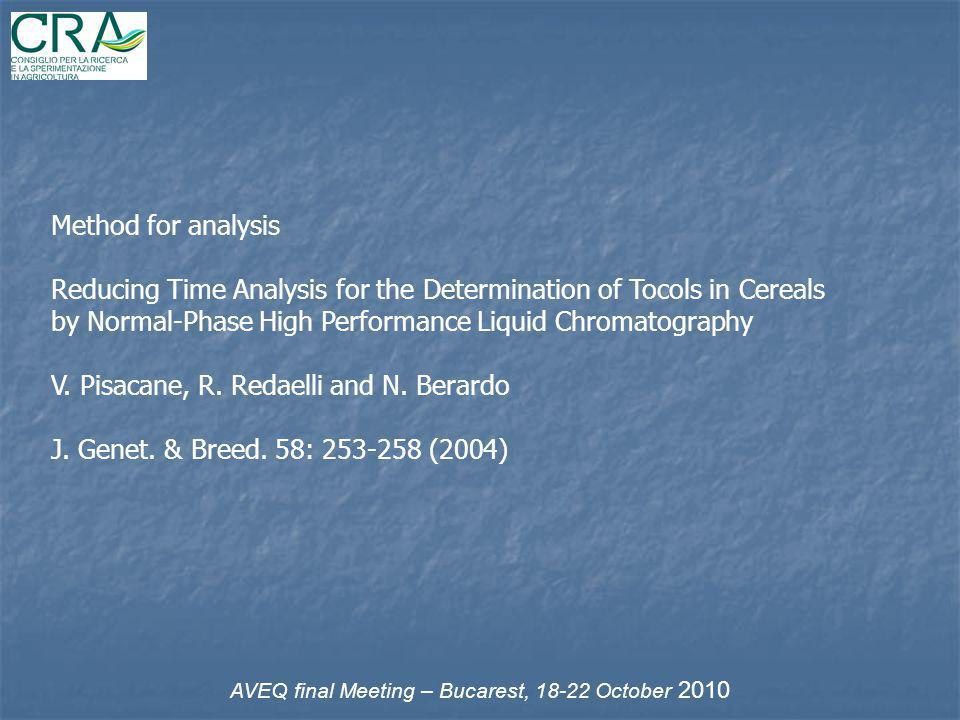 Method for analysis Reducing Time Analysis for the Determination of Tocols in Cereals by Normal-Phase High Performance Liquid Chromatography V. Pisaca