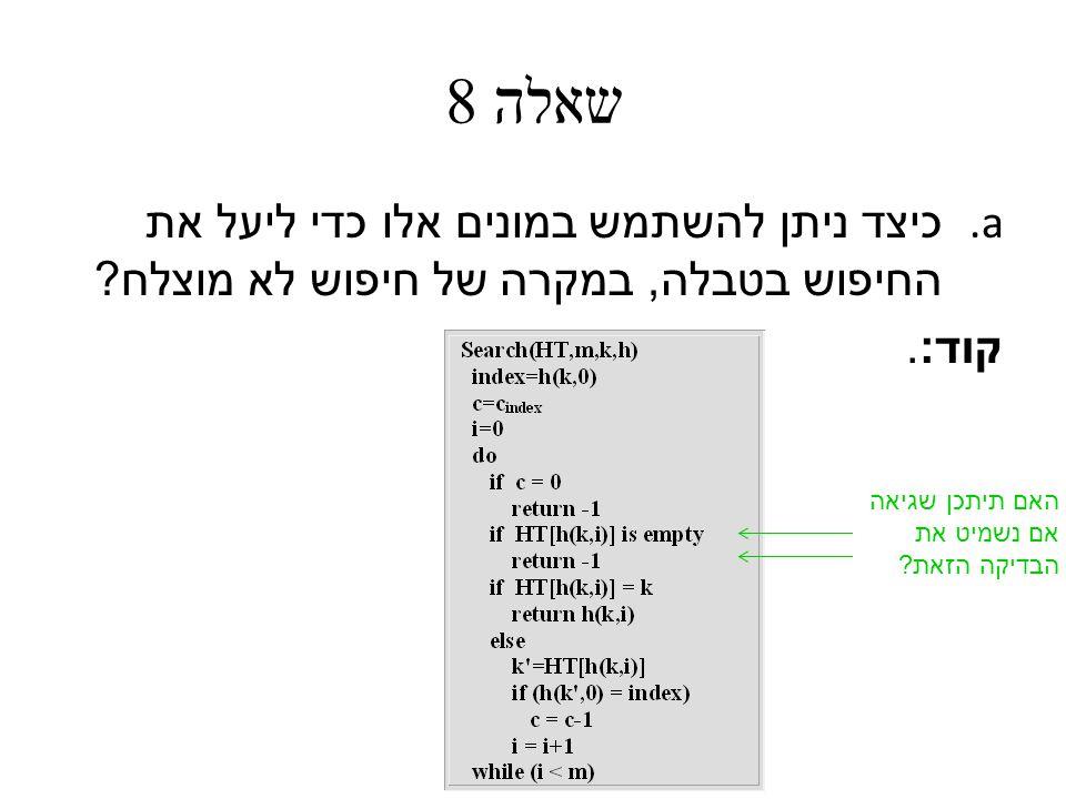 שאלה 8 a. כיצד ניתן להשתמש במונים אלו כדי ליעל את החיפוש בטבלה, במקרה של חיפוש לא מוצלח .