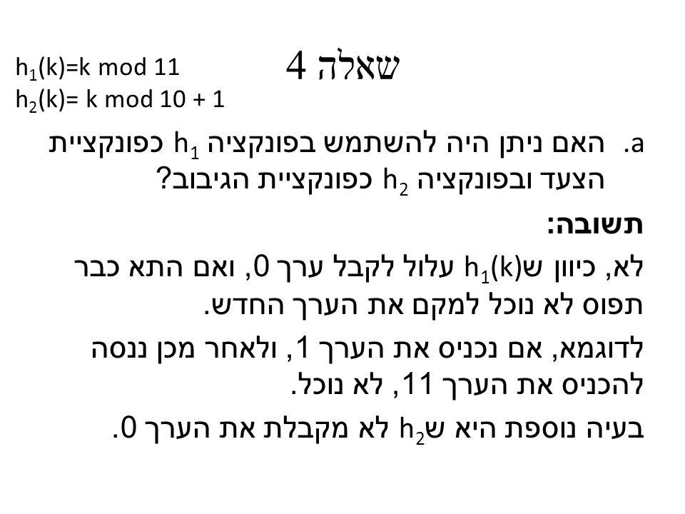 שאלה 4 a. האם ניתן היה להשתמש בפונקציה h 1 כפונקציית הצעד ובפונקציה h 2 כפונקציית הגיבוב .