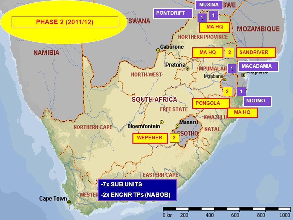 PONTDRIFT MUSINA MACADAMIA NDUMO SANDRIVER WEPENER -7x SUB UNITS -2x ENGNR TPs (NABOB) MA HQ 1 1 1 2 2 1 PHASE 2 (2011/12) PONGOLA 2 MA HQ