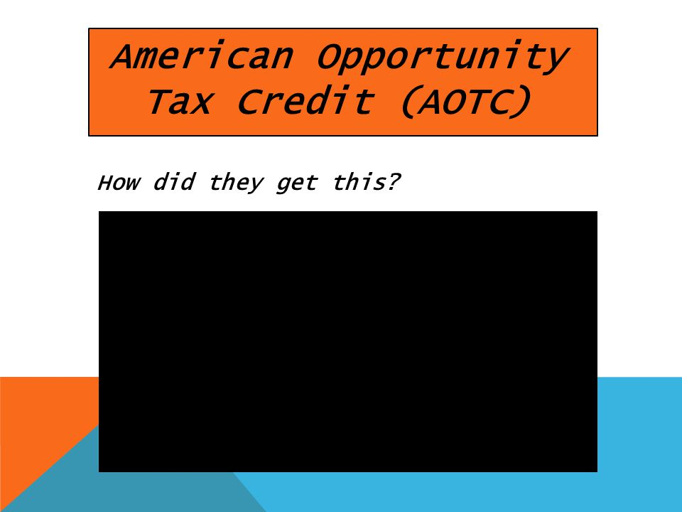 American Opportunity Tax Credit (AOTC) How did they get this