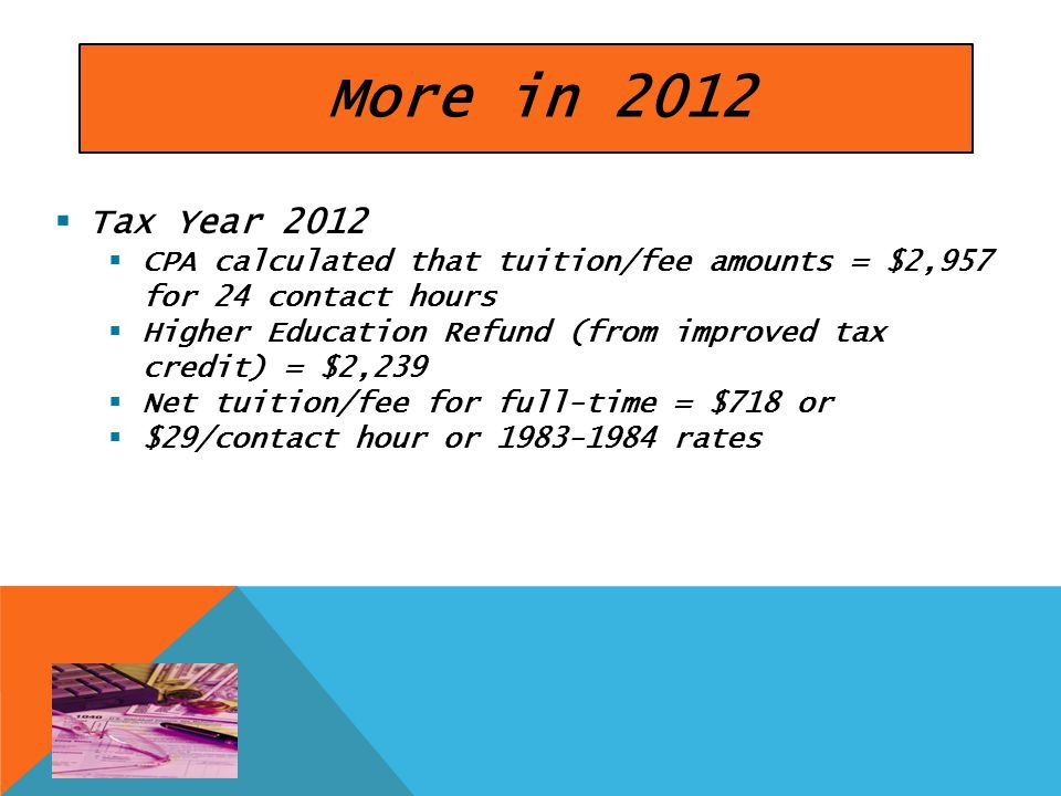More in 2012  Tax Year 2012  CPA calculated that tuition/fee amounts = $2,957 for 24 contact hours  Higher Education Refund (from improved tax credit) = $2,239  Net tuition/fee for full-time = $718 or  $29/contact hour or 1983-1984 rates