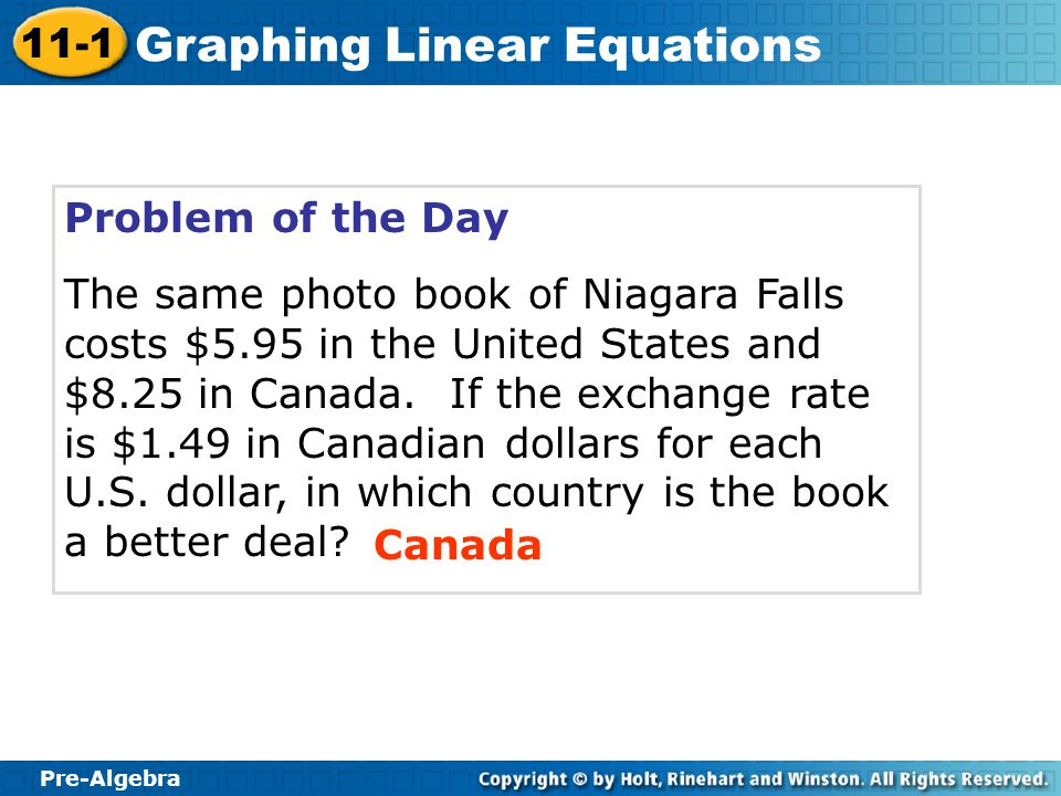 Pre-Algebra 11-1 Graphing Linear Equations Problem of the Day The same photo book of Niagara Falls costs $5.95 in the United States and $8.25 in Canad
