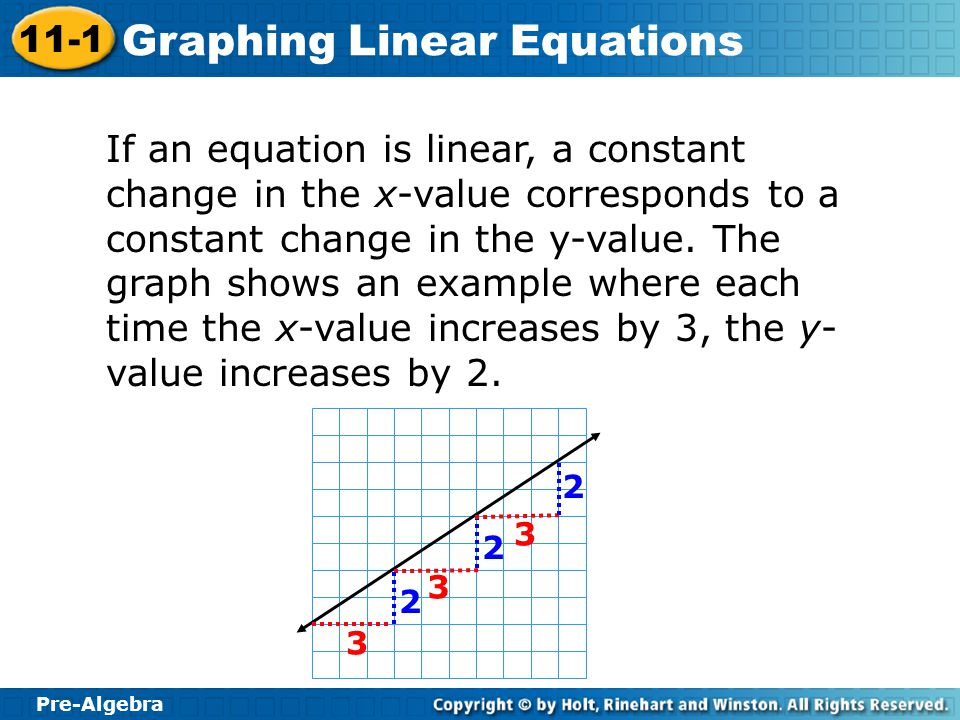 Pre-Algebra 11-1 Graphing Linear Equations If an equation is linear, a constant change in the x-value corresponds to a constant change in the y-value.