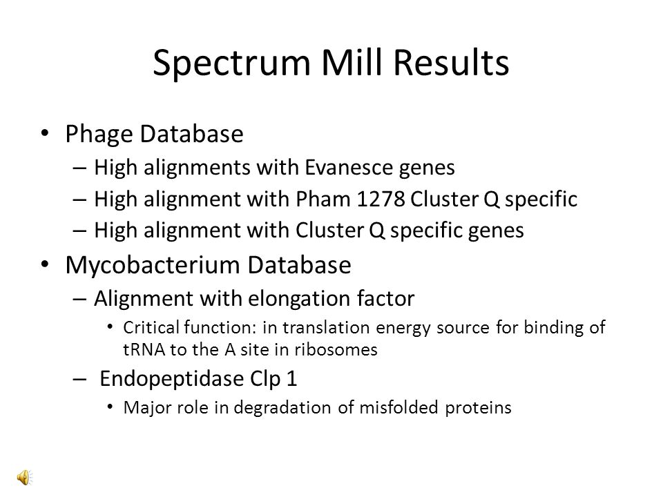 Spectrum Mill Compared against Mycobacterium Database – Evanesce gene 11 – Pham 1278 Cluster Q specific – Evanesce gene 10 - Pham 1326 – Cluster Q specific – Elongation factor Tu – M.
