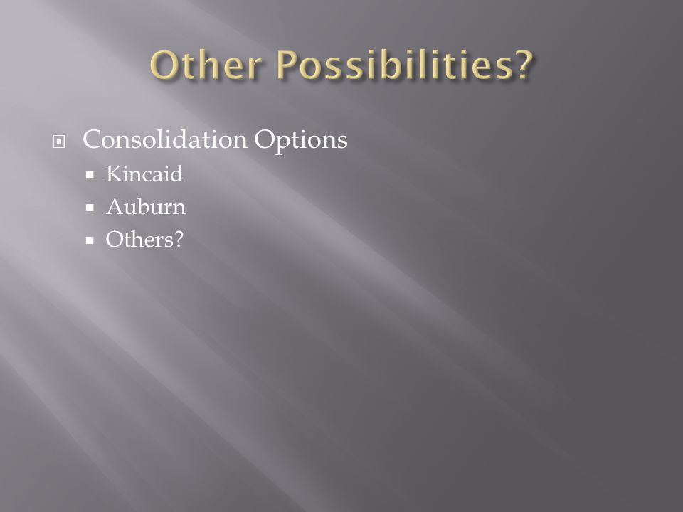  Consolidation Options  Kincaid  Auburn  Others