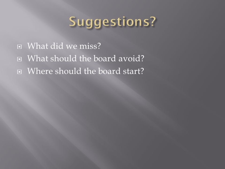  What did we miss  What should the board avoid  Where should the board start