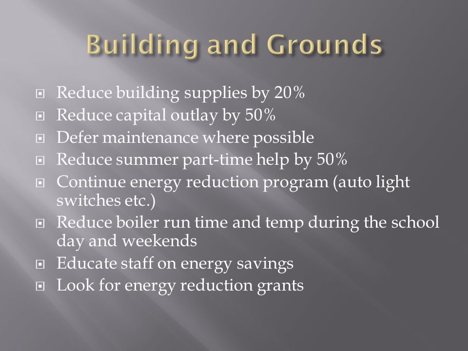  Reduce building supplies by 20%  Reduce capital outlay by 50%  Defer maintenance where possible  Reduce summer part-time help by 50%  Continue energy reduction program (auto light switches etc.)  Reduce boiler run time and temp during the school day and weekends  Educate staff on energy savings  Look for energy reduction grants