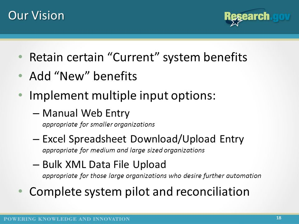 Our Vision Retain certain Current system benefits Add New benefits Implement multiple input options: – Manual Web Entry appropriate for smaller organizations – Excel Spreadsheet Download/Upload Entry appropriate for medium and large sized organizations – Bulk XML Data File Upload appropriate for those large organizations who desire further automation Complete system pilot and reconciliation 18