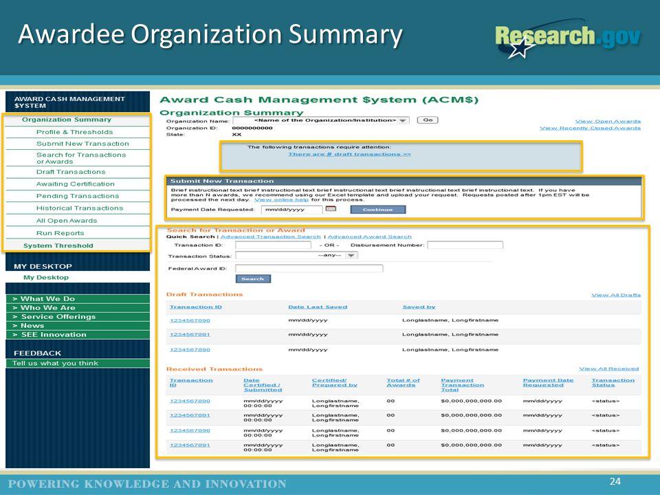 Awardee Organization Summary 24 (G1)