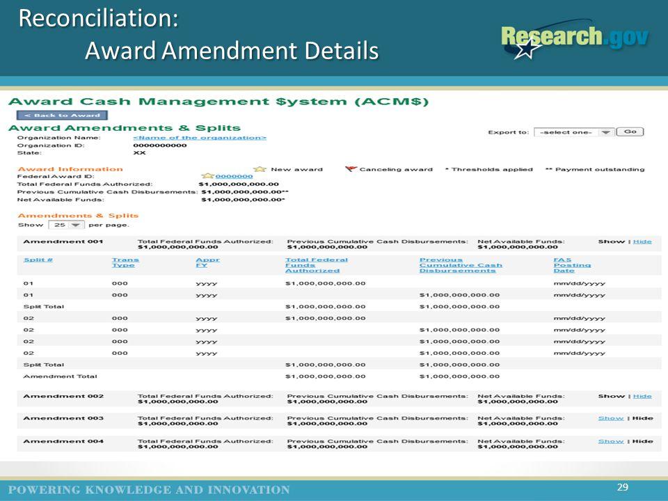 Reconciliation: Award Amendment Details 29 (A5)