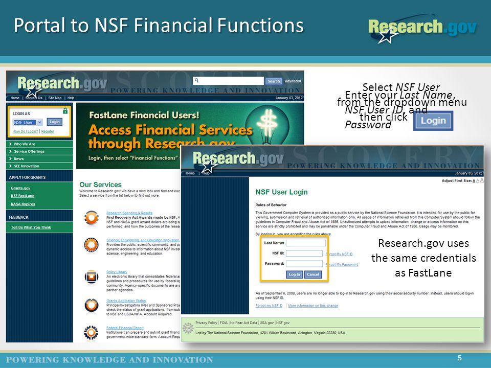 Portal to NSF Financial Functions Select NSF User from the dropdown menu then click ------ Research.gov uses the same credentials as FastLane Enter your Last Name, NSF User ID, and Password 5