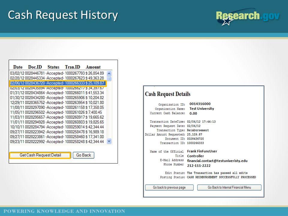 Cash Request History