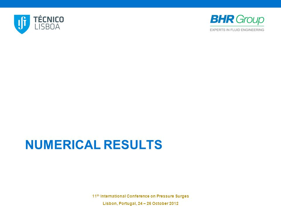 11 th International Conference on Pressure Surges Lisbon, Portugal, 24 – 26 October 2012 NUMERICAL RESULTS