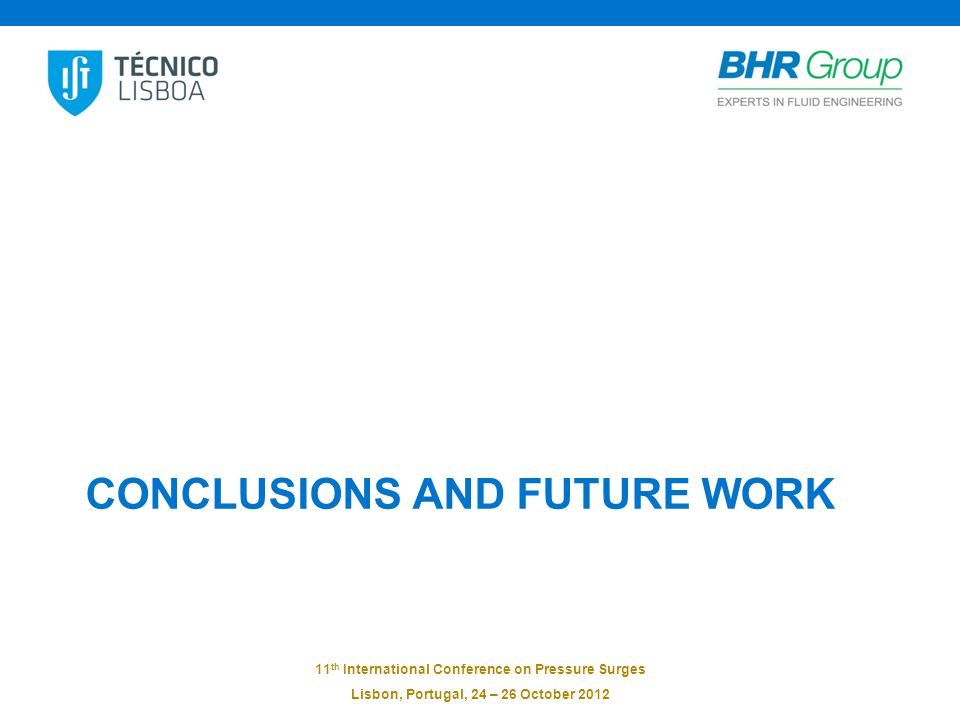11 th International Conference on Pressure Surges Lisbon, Portugal, 24 – 26 October 2012 CONCLUSIONS AND FUTURE WORK