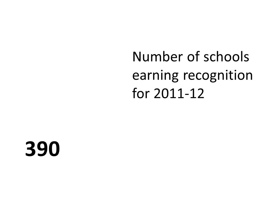 390 Number of schools earning recognition for 2011-12