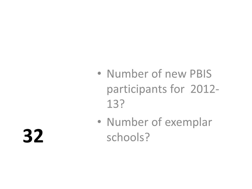 32 Number of new PBIS participants for 2012- 13 Number of exemplar schools