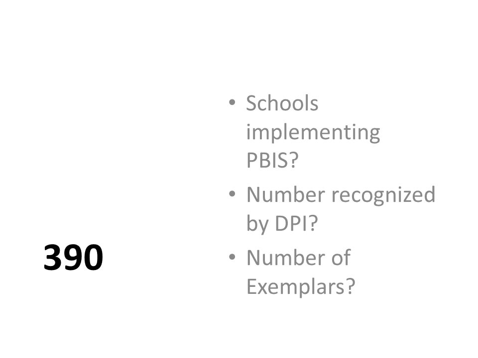 390 Schools implementing PBIS Number recognized by DPI Number of Exemplars