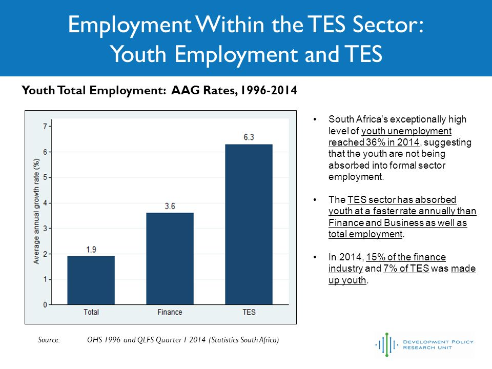Employment Within the TES Sector: Youth Employment and TES Source: OHS 1996 and QLFS Quarter 1 2014 (Statistics South Africa) Youth Total Employment: AAG Rates, 1996-2014 South Africa's exceptionally high level of youth unemployment reached 36% in 2014, suggesting that the youth are not being absorbed into formal sector employment.