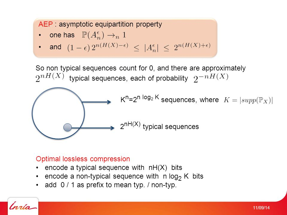 11/09/14 AEP : asymptotic equipartition property one has and So non typical sequences count for 0, and there are approximately typical sequences, each