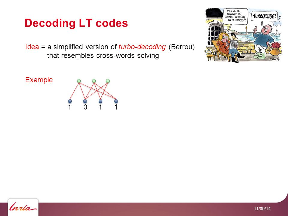 Decoding LT codes 11/09/14 Idea = a simplified version of turbo-decoding (Berrou) that resembles cross-words solving Example 1011