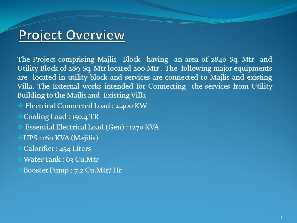 The Project comprising Majlis Block having an area of 2840 Sq.