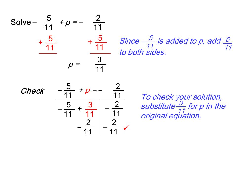 p = 3 11 + 5 + 5 Solve –+ p = –. 2 11 5 5 Since – is added to p, add to both sides. 5 11 Check + p = – 2 11 5 – 2 5 – – 3 + 2 – 2 – To check your solu