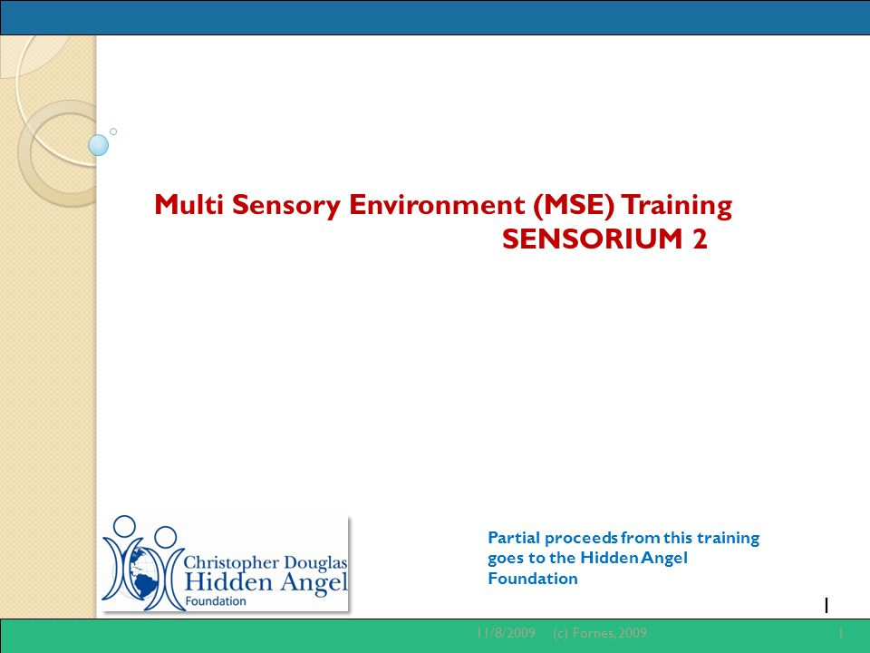 1 Multi Sensory Environment (MSE) Training SENSORIUM 2 Partial proceeds from this training goes to the Hidden Angel Foundation 11/8/20091(c) Fornes, 2