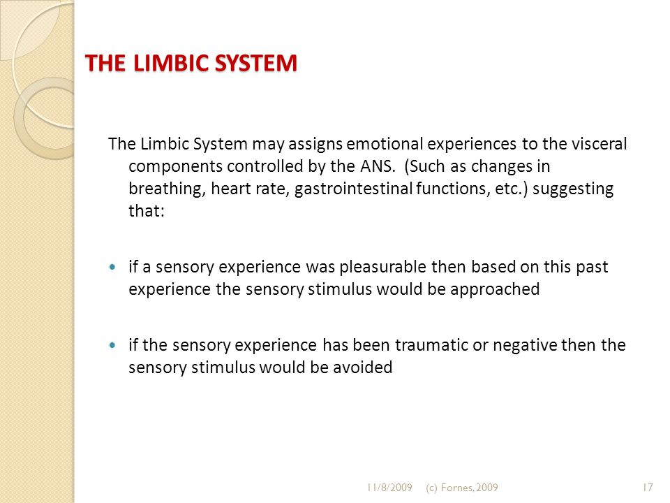 THE LIMBIC SYSTEM The Limbic System may assigns emotional experiences to the visceral components controlled by the ANS. (Such as changes in breathing,