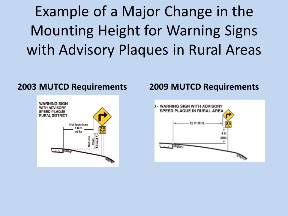 Example of a Major Change in the Mounting Height for Warning Signs with Advisory Plaques in Rural Areas 2003 MUTCD Requirements2009 MUTCD Requirements