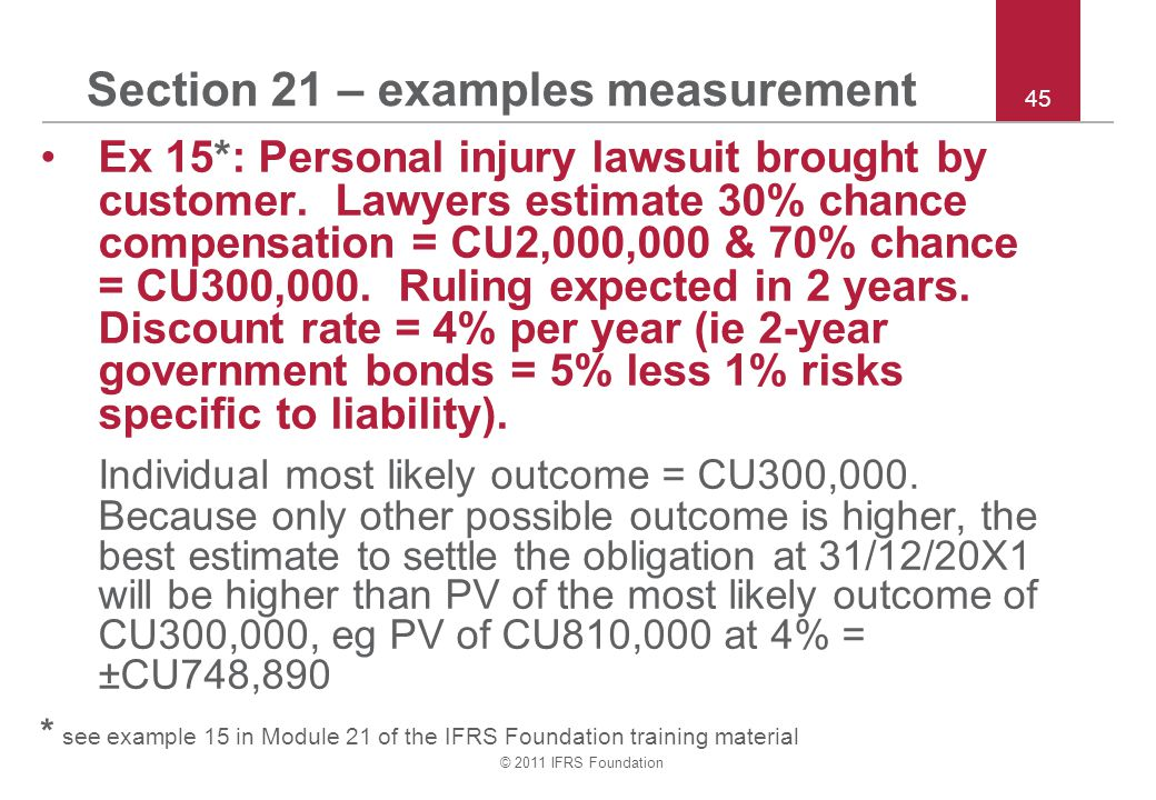 © 2011 IFRS Foundation 45 Section 21 – examples measurement Ex 15*: Personal injury lawsuit brought by customer. Lawyers estimate 30% chance compensat