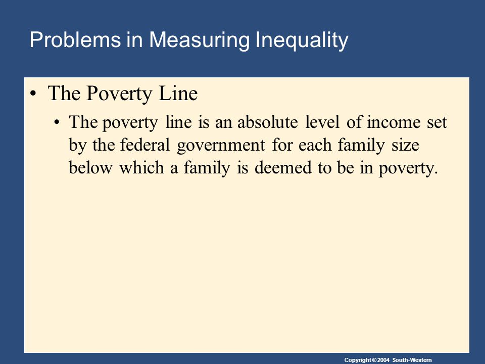 Copyright © 2004 South-Western Problems in Measuring Inequality The Poverty Line The poverty line is an absolute level of income set by the federal government for each family size below which a family is deemed to be in poverty.