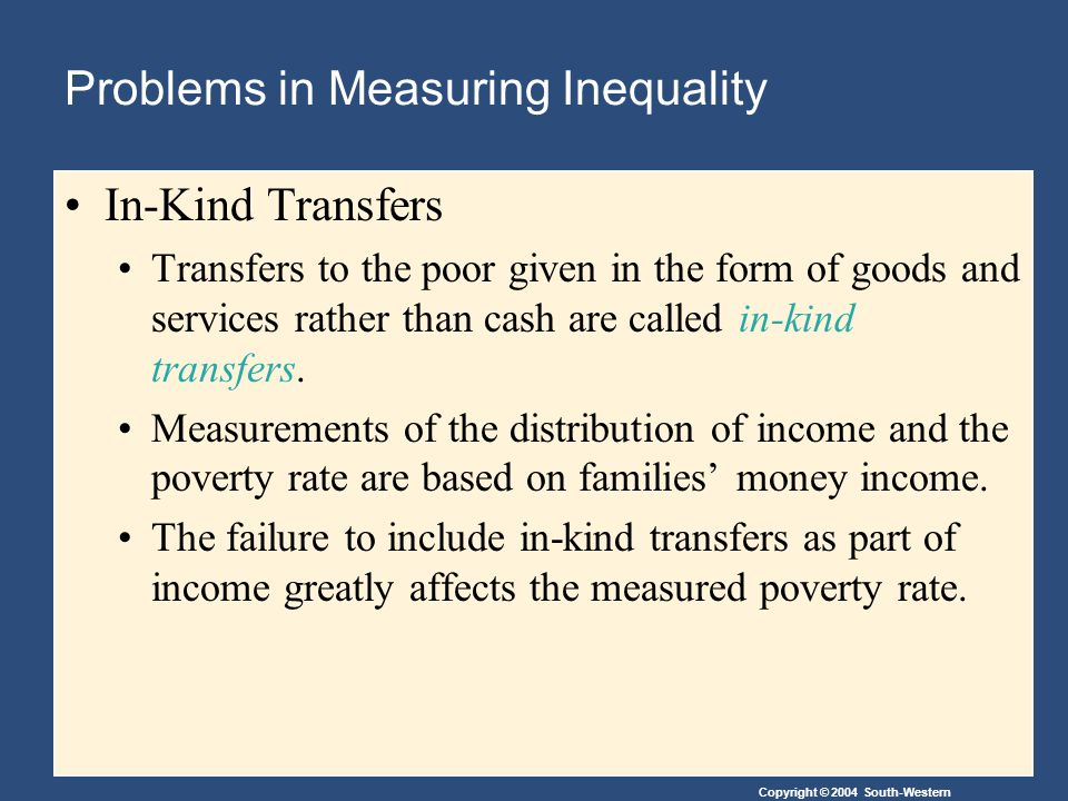 Copyright © 2004 South-Western Problems in Measuring Inequality In-Kind Transfers Transfers to the poor given in the form of goods and services rather than cash are called in-kind transfers.