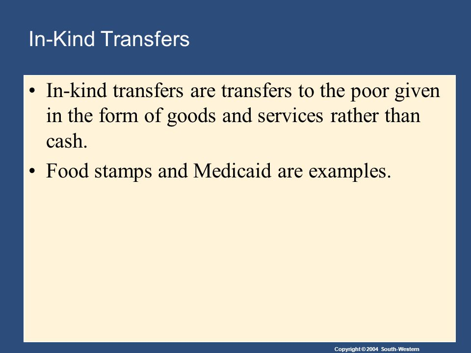 Copyright © 2004 South-Western In-Kind Transfers In-kind transfers are transfers to the poor given in the form of goods and services rather than cash.