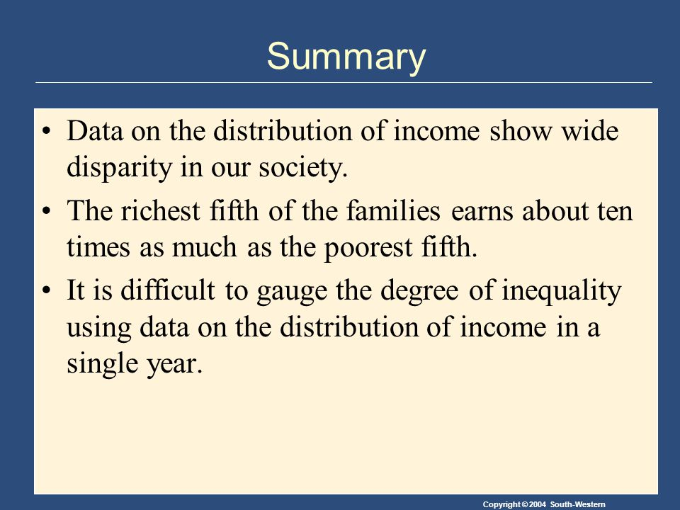 Copyright © 2004 South-Western Summary Data on the distribution of income show wide disparity in our society.
