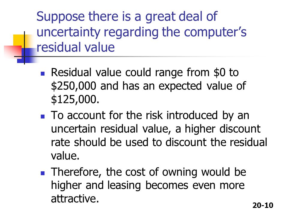 20-10 Suppose there is a great deal of uncertainty regarding the computer's residual value Residual value could range from $0 to $250,000 and has an e