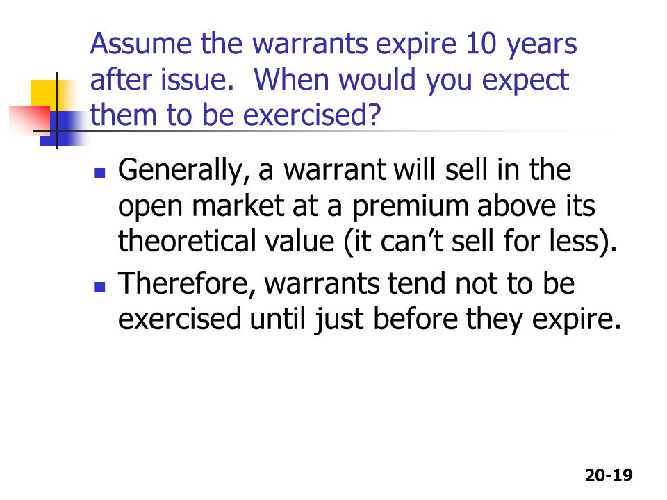 20-19 Assume the warrants expire 10 years after issue. When would you expect them to be exercised? Generally, a warrant will sell in the open market a