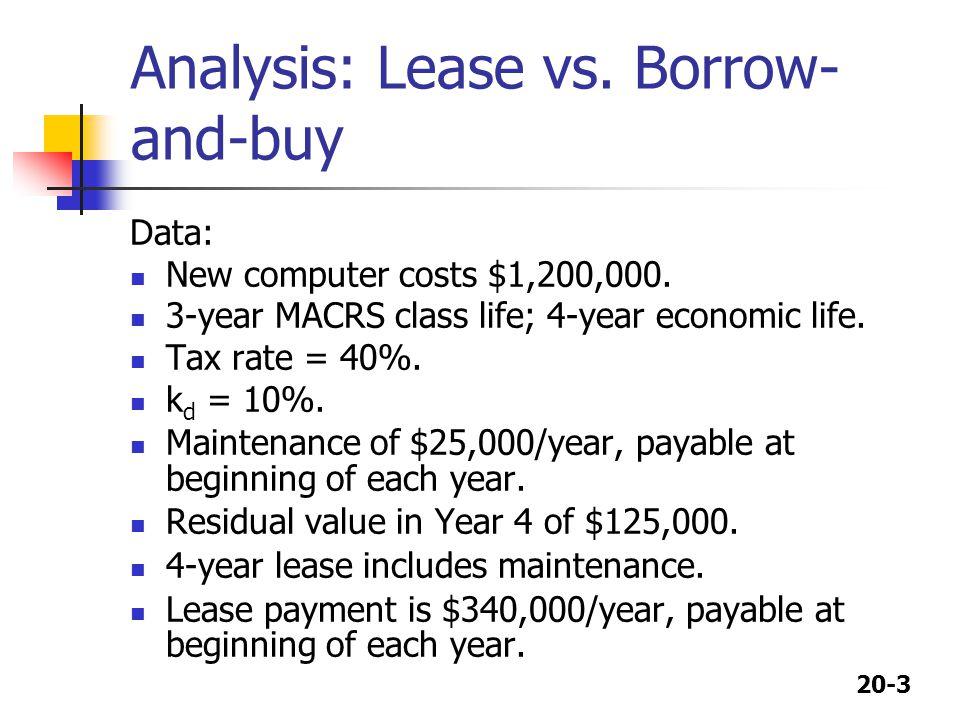 20-4 Depreciation schedule Depreciable basis = $1,200,000 MACRS DepreciationEnd-of-Year Year Rate ExpenseBook Value 1 0.33 $ 396,000 $804,000 2 0.45 540,000 264,000 3 0.15 180,000 84,000 4 0.07 84,000 0 1.00 $1,200,000