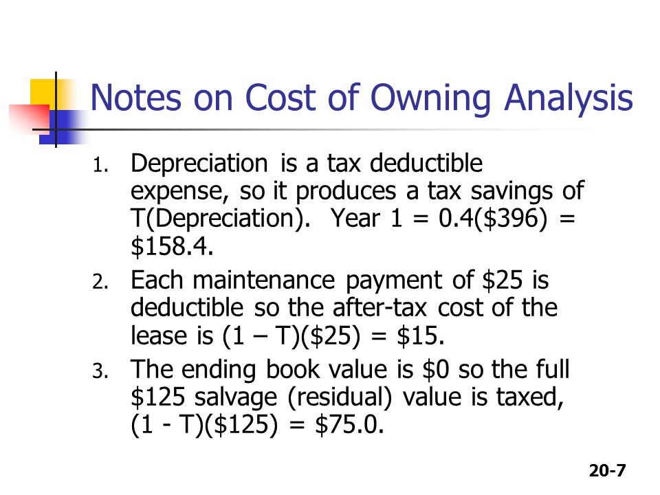 20-8 Cost of Leasing Analysis Each lease payment of $340 is deductible, so the after-tax cost of the lease is (1-T)($340) = -$204.